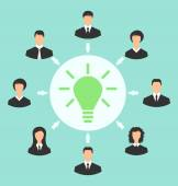 Group of business people gather together, process of generating  — Cтоковый вектор