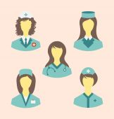 Icons set of medical nurses in modern flat design style — Stock Vector