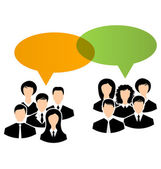 Icons of business groups share your opinions, dialogs speech bub — Vector de stock