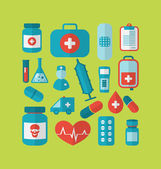 Collection trendy flat medical icons — Stock Vector