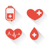 Flat medical icons of donate blood with long shadow — Stock Vector