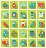 Collection trendy flat medical icons with long shadow — Stock Vector
