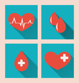 Flat medical icons of donate blood with long shadows — Stock Vector