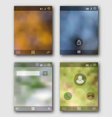 Mobile interface wallpaper design and icons. Blurred landscapes — ストックベクタ