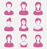 Avatars set front portrait of females isolated on white backgrou — Stock Vector