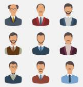 Set business people, front portrait of males isolated on white b — Stock Vector