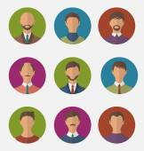Set colorful male faces circle icons, trendy flat style — Stockvector