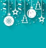 圣诞节背景与杉木、 球、 星星、 流光、 新潮平 st — 图库矢量图片