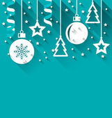 Xmas background with fir, balls, stars, streamer, trendy flat st — Stock Vector