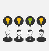 Business people with light bulbs as a concept of new ideas — Stock Vector