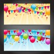 Abstract banners with colorful balloons, hanging flags and confe — Stock Vector #60574183