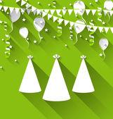 Tło wakacje z czapeczek, balony, konfetti i powiesić — Wektor stockowy