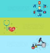 Concept of medical diagnostics hospital clinic care, set banners — Stock Vector