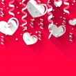 Background for Valentines Day with paper hearts, streamer, stars — Stock Vector #62026717
