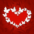 Cute postcard with heart made in paper butterflies for Valentine — Stockvector  #62026805