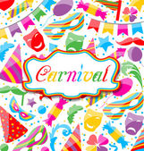 Festive card with carnival and party colorful icons and objects — Stock Vector