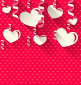 Valentines Day background with paper hearts and serpentine, tren — Vetorial Stock