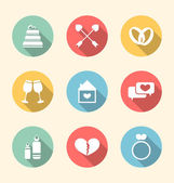 Trendy flat icons for Valentines Day, style with long shadows — Stock Vector