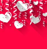 Background for Valentines Day with paper hearts, streamer, stars — Cтоковый вектор