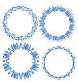 Set floral ornate round frames for your design of celebration po — Stockvektor
