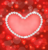 Lighten background with heart made in pearls for Valentine Day,  — Stock Vector