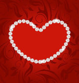Floral postcard with heart made in pearls for Valentine Day, cop — ストックベクタ