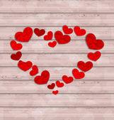 Fond en bois avec cadre fabriqué dans les coeurs pour la Saint Valentin — Vecteur