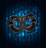Carnival or theater mask on blue shimmering  background — Stock Vector