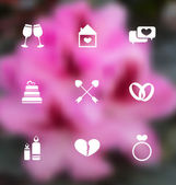 Trendy flat icons for Valentines Day, blurred layout  — Vetor de Stock