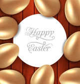 Congratulation card with Easter golden glossy eggs on wooden bac — Stock Vector