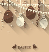 Easter background with chocolate eggs, serpentine and bunting fl — Stock Vector