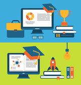 Banners met set van platte concept pictogrammen voor onderwijs voor iedereen — Stockvector