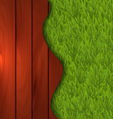 Эко-дизайн - свежесть весны зеленой травой и деревянный пол — Cтоковый вектор