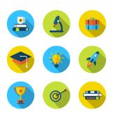Flat icons of elements and objects for high school and college e — Stock Vector