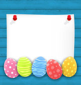Celebration empty paper card with Easter ornamental eggs on wood — Stock Vector