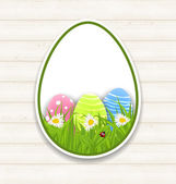 Easter paper sticker eggs with green grass and flowers  — Stock Vector