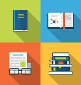 Flat icons design of handbooks, books and publish documents, lon — Stock Vector