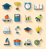 Flat icons of elements and objects for high school and college e — ストックベクタ