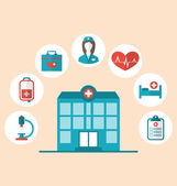 Flat trendy icons of hospital and another medical objects, moder — Stock vektor