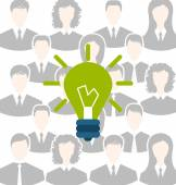 Group of business people gather together, process of generating  — Stock Vector
