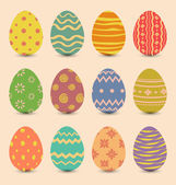 Easter set old ornamental eggs with shadows — Stock Vector