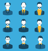 Set business people, front portrait of males isolated on blue ba — Vector de stock