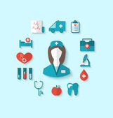 Set modern flat icons of nurse and medical objects, simple style — Stockvector
