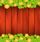 Clovers and golden coins on brown wooden background for St. Patr — Stock Vector