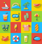 Flat icons of holiday journey, summer symbols, sea leisure, colo — Stock Vector