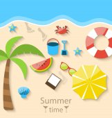Summer time with flat set colorful simple icons on the beach — Vettoriale Stock