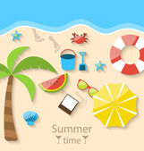 Summer time with flat set colorful simple icons on the beach — Stockvektor