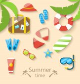 Summer vacation time with flat set colorful simple icons — Stock Vector