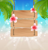 Hanging wooden guidepost with exotic flowers frangipani and palm — Stock Vector