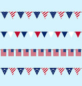 Hanging Bunting pennants for Independence Day USA, Set Tradition — Stock Vector